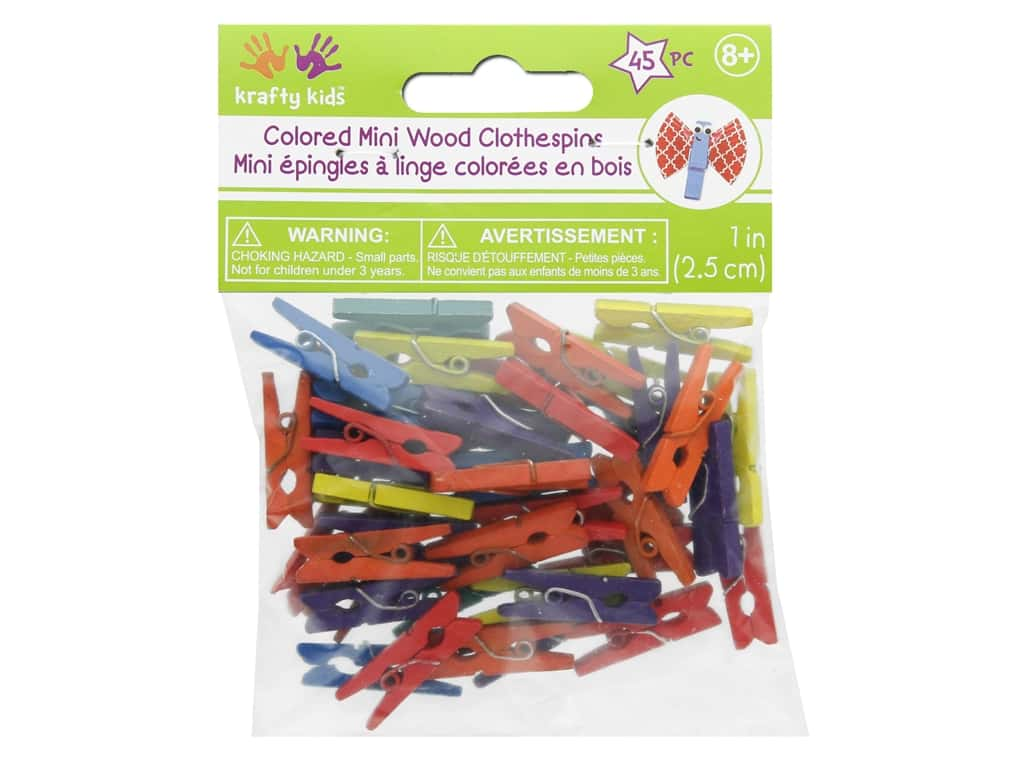 Craft Medley Mini Clothespin 1 in. Colored 45 pc.