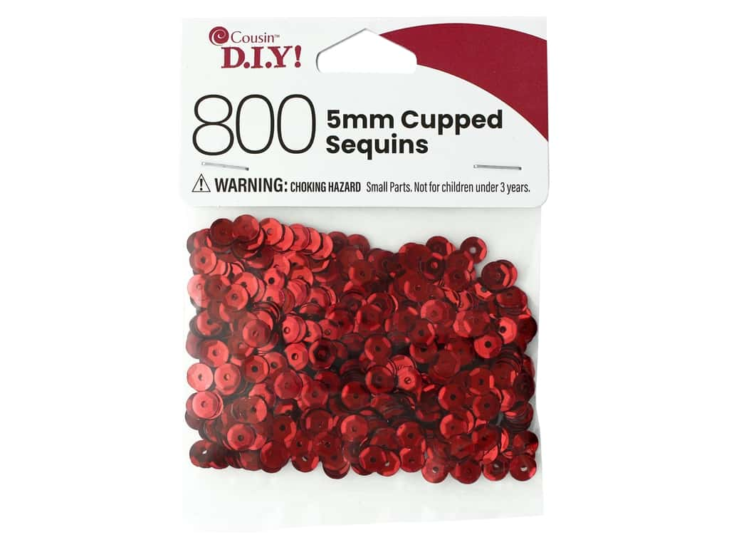 Cousin DIY Sequins Cupped 5 mm Red 800 pc