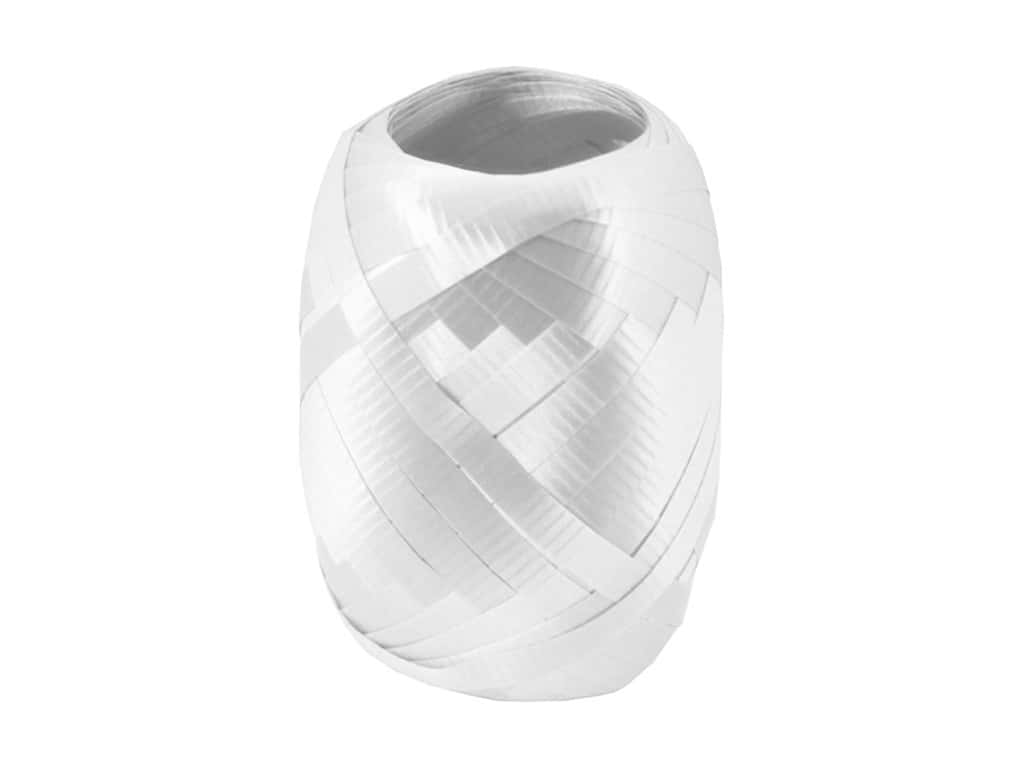 Offray Curling Ribbon Keg 3/16 in. x 40 ft. Crimped White