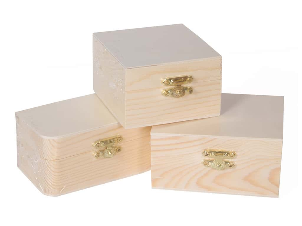 Multicraft Wood Box With Clasp Assorted 3 Styles (3 pieces)