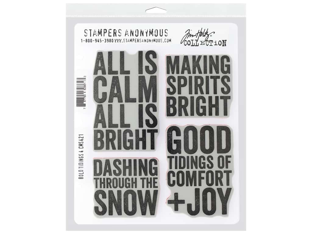 """Stampers Anonymous Cling Mount Stamp Tim Holtz 7 in. x 8.5"""" in. Bold Tidings #4"""