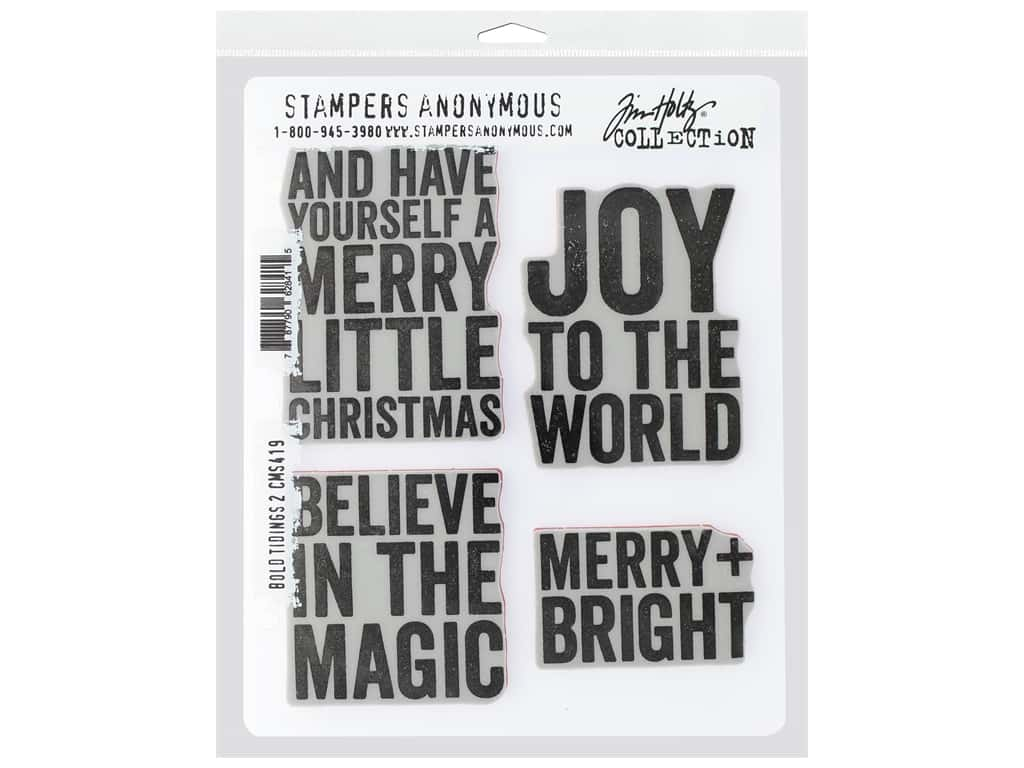 Stampers Anonymous Cling Mount Stamp Tim Holtz 7 in. x 8.5 in. Bold Tidings #2