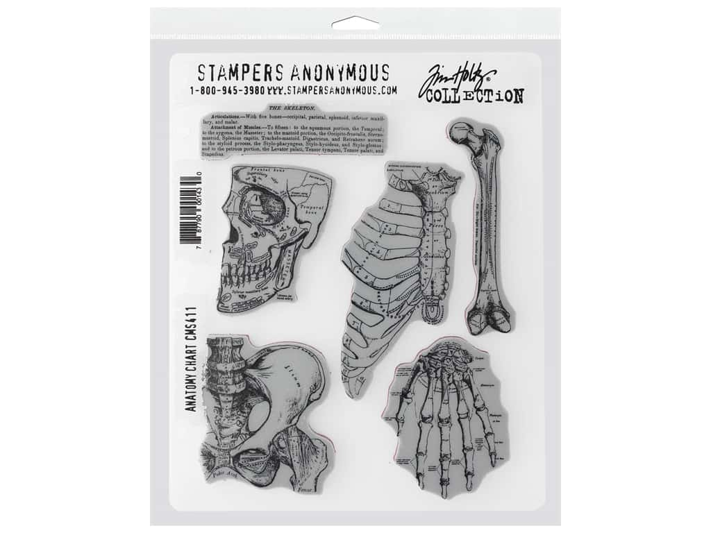 """Stampers Anonymous Cling Mount Stamp Tim Holtz 7 in. x 8.5"""" in. Anatomy Chart"""