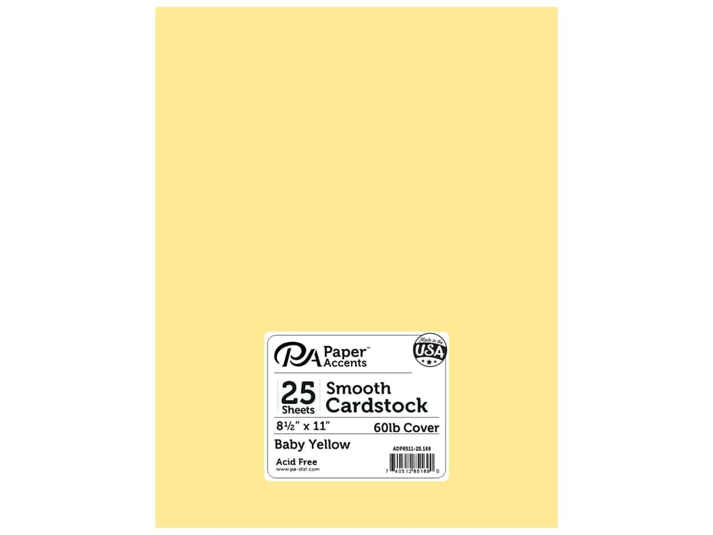 Paper Accents Cardstock 8 1/2 x 11 in. #169 Smooth Baby Yellow 25 pc.