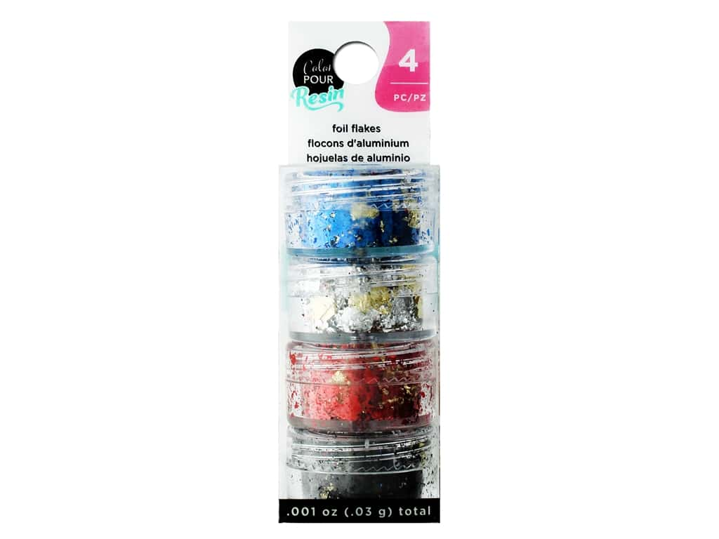 American Crafts Color Pour Resin Mix In Reversible Foil Flakes 4 pc