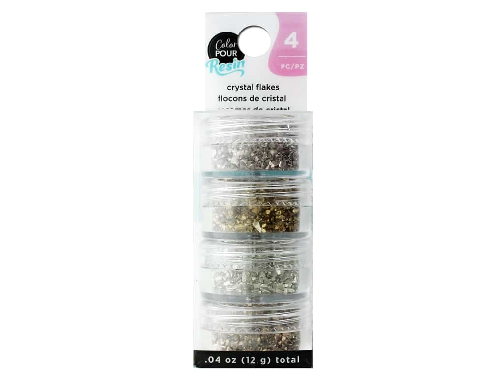 American Crafts Color Pour Resin Mix In Crystal Flakes Natural 4 pc