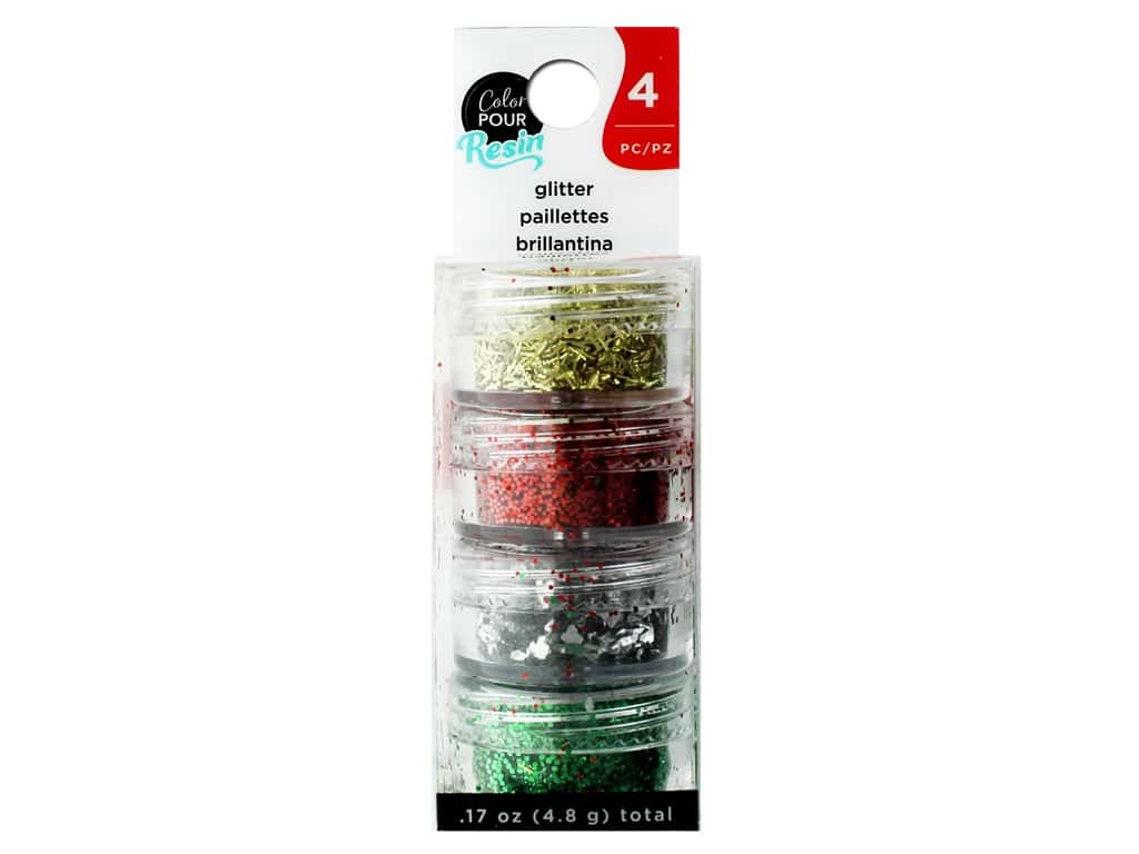 American Crafts Color Pour Resin Mix In Holiday Glitter 4 pc