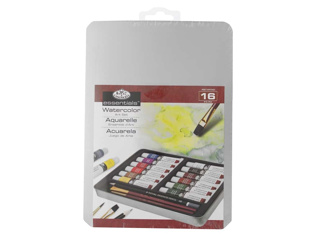 Royal Essentials Watercolor Painting Set with Tin 16 pc