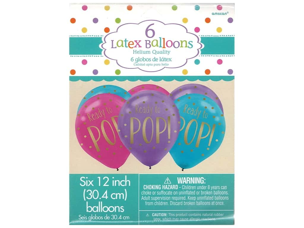 Amscan Collection Baby Shower Balloon Latex 12 in. Ready To Pop 6 pk