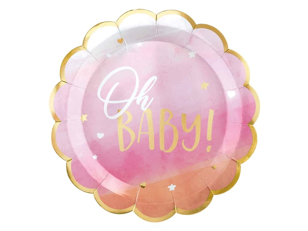 """Amscan Collection Oh Baby Plate 10.5"""" Shaped Girl 8pc Paper"""