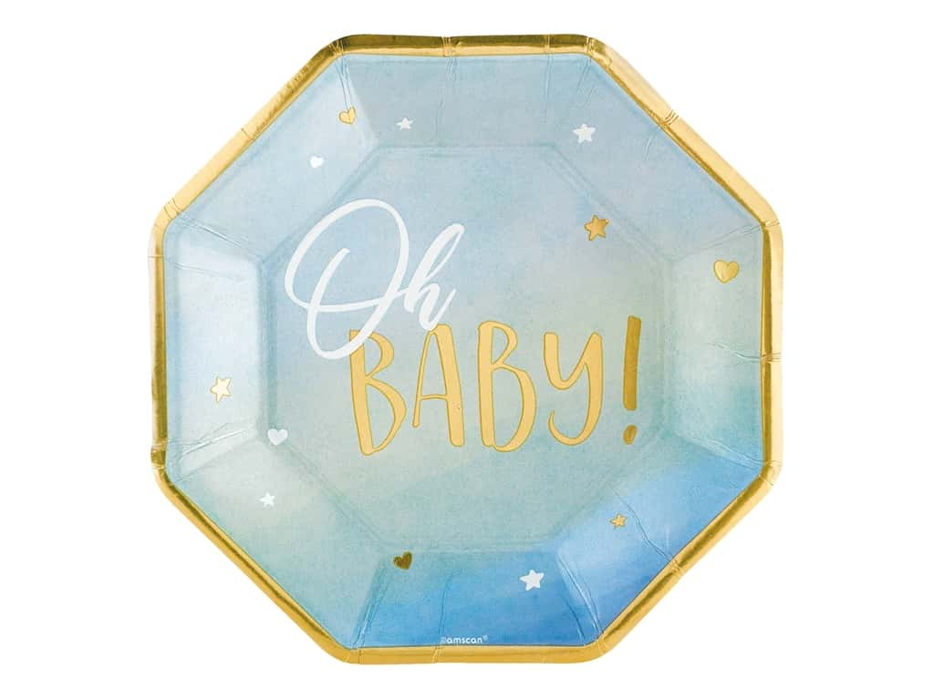 """Amscan Collection Oh Baby Plate 10"""" Octagon Boy 8pc Paper"""