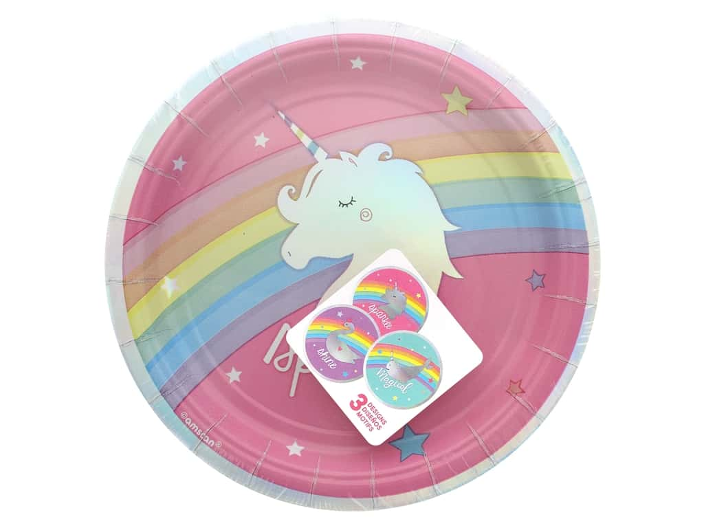 """Amscan Collection Magical Rainbow Plate 7"""" Round 8pc Paper Assorted"""