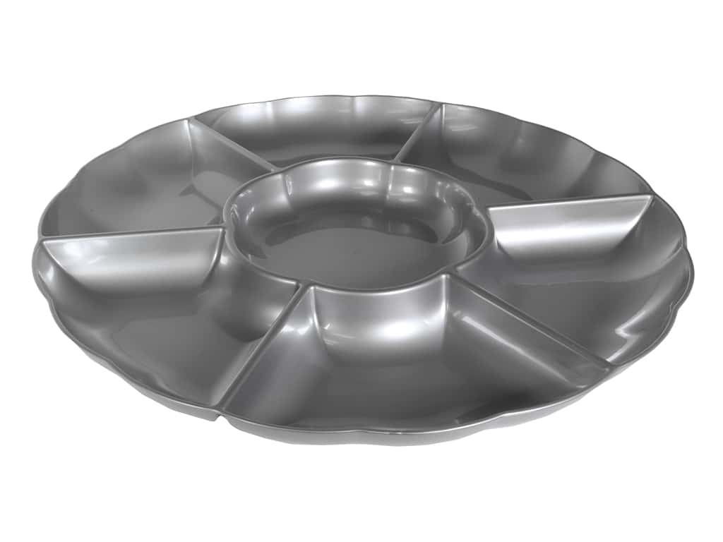 """Amscan Tableware Compartment Tray 16"""" Chip And Dip Silver"""