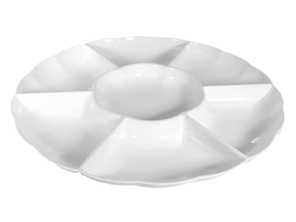 """Amscan Tableware Compartment Tray 16"""" Chip And Dip White"""