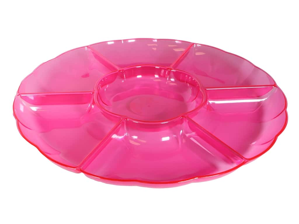"""Amscan Tableware Compartment Tray 16"""" Chip And Dip Bright Pink"""