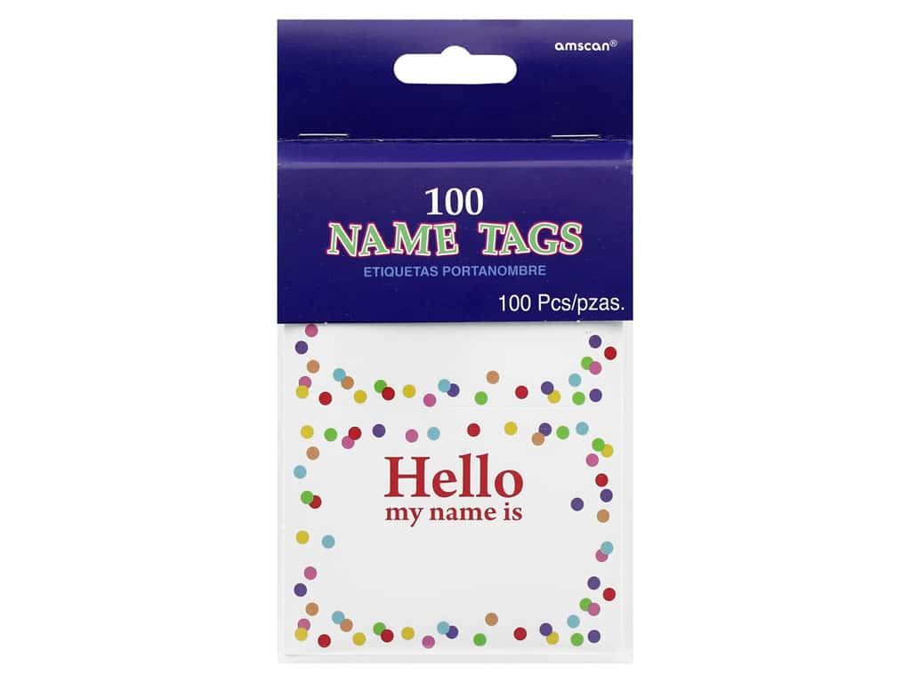 Amscan Name Tag Hello My Name Is Confetti 100 pc