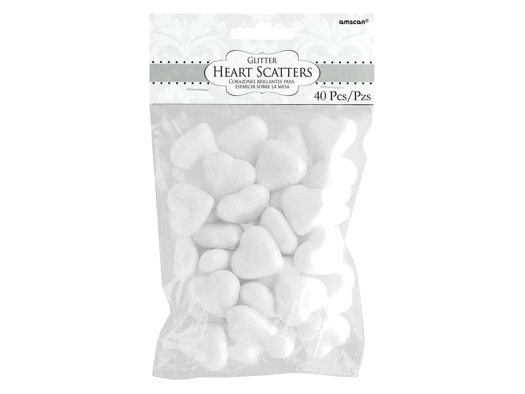 Amscan Collection Premium Wedding Table Scatters Glitter Heart Iridescent 40 pc