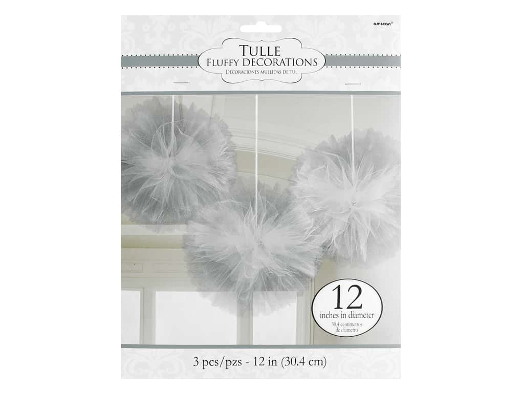 Amscan Collection Bridal Tulle 12 in. Fluffy Decorations Silver 3 pc
