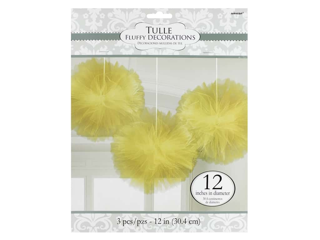 Amscan Collection Bridal Tulle 12 in. Fluffy Decorations Gold 3 pc