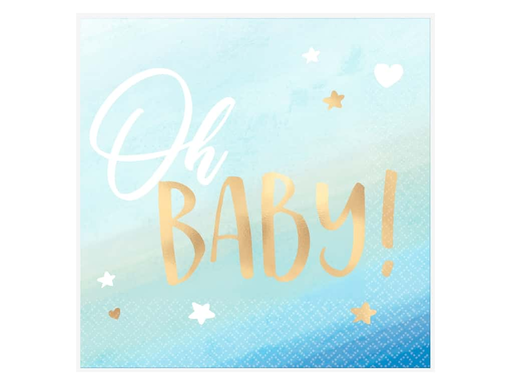 Amscan Collection Oh Baby Napkin Beverage Boy 16pc
