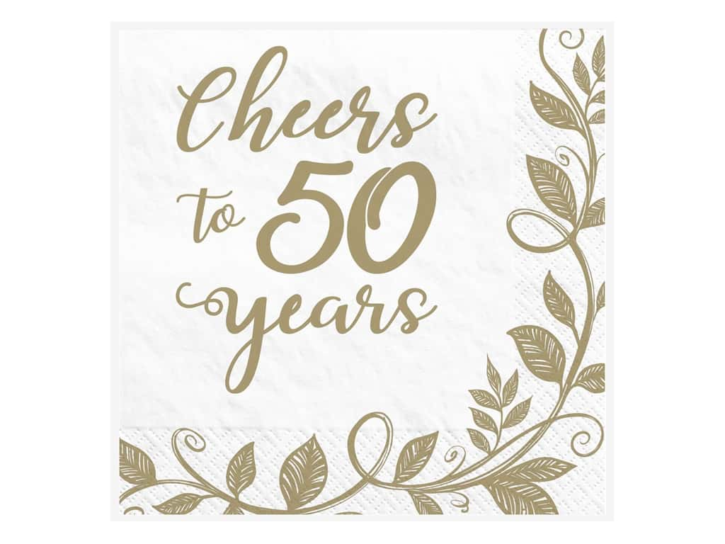 Amscan Collection Anniversary Napkin Beverage 50th 16pc