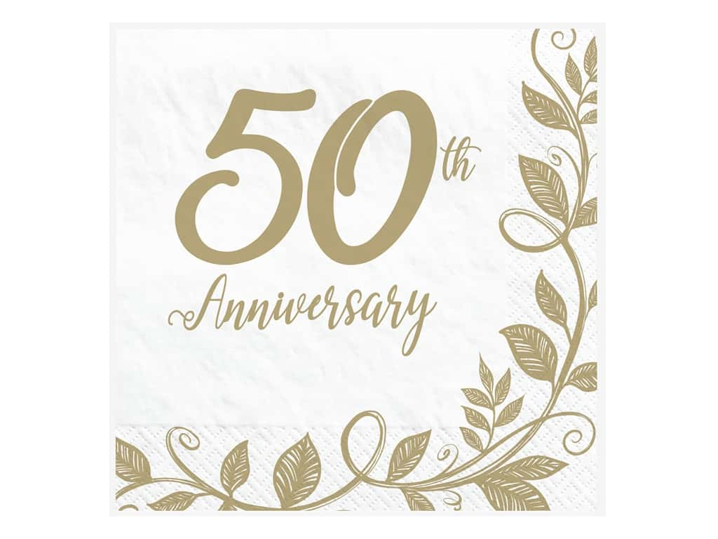 Amscan Collection Anniversary Napkin Luncheon 50th 16pc