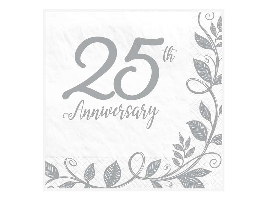 Amscan Collection Anniversary Napkin Luncheon 25th 16pc