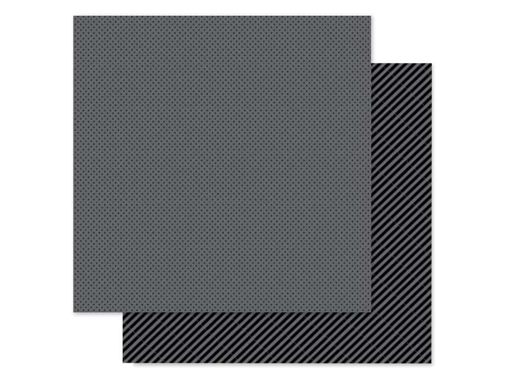 Doodlebug Collection Petite Prints Paper 12 in. x 12 in. Dot/Stripe Beetle Black (25 pieces)