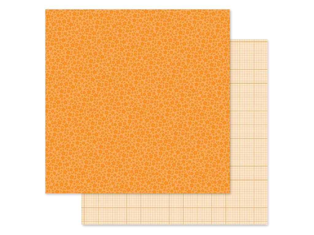 Doodlebug Collection Petite Prints Paper 12 in. x 12 in. Floral/Graph Mandarin (25 pieces)