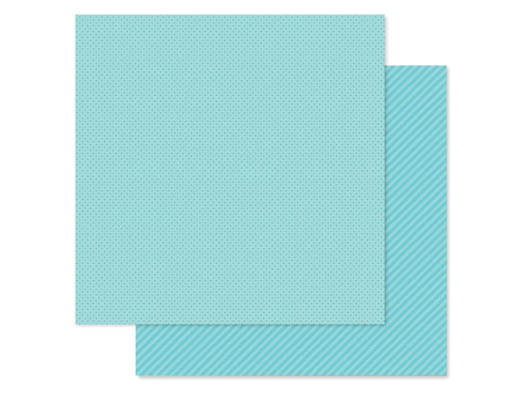 Doodlebug Collection Petite Prints Paper 12 in. x 12 in. Dot/Stripe Swimming Pool (25 pieces)