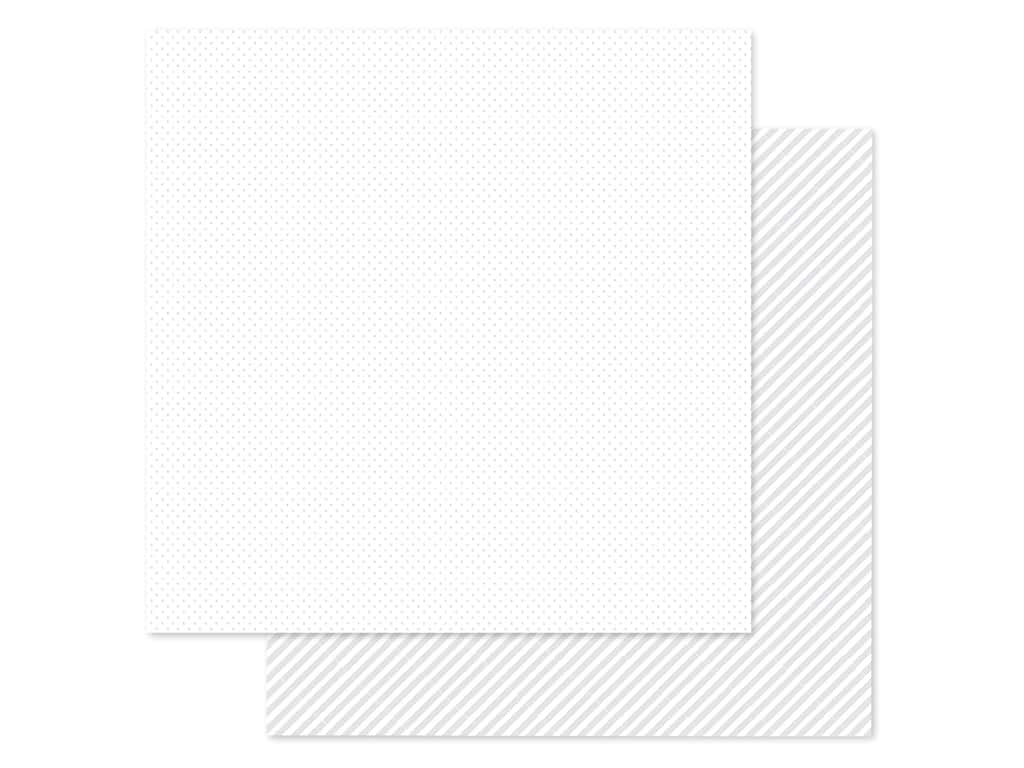Doodlebug Collection Petite Prints Paper 12 in. x 12 in. Dot/Stripe Lily White (25 pieces)