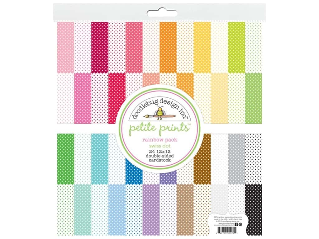 Doodlebug Paper 12 in. x 12 in. Swiss Dot Rainbow