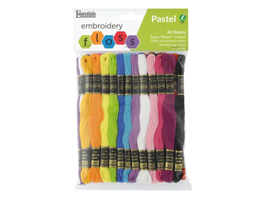 Essentials By Leisure Arts Iris Embroidery Floss Pack Pastel 36 pc