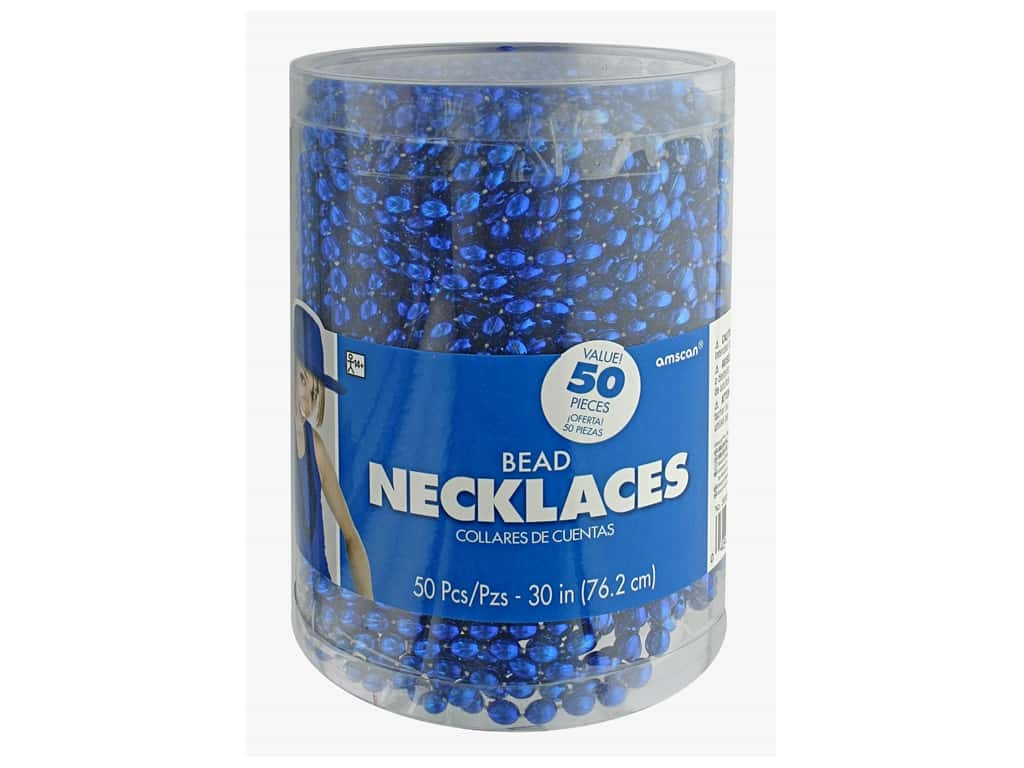 """Amscan Necklace 30"""" Bead 50pc Blue"""