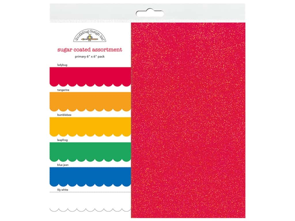 Doodlebug Paper Pack 6 in. x 6 in. Sugar Coated Primary 6pc (3 sets)