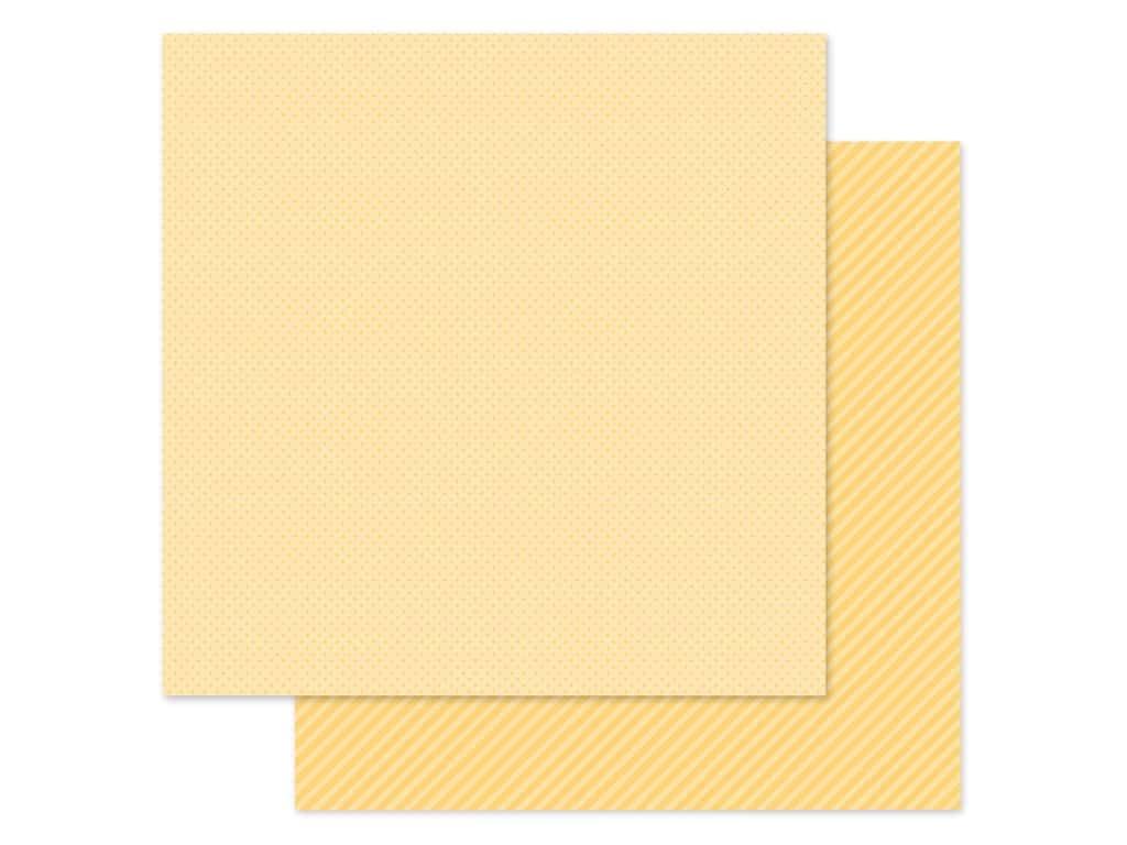 Doodlebug Collection Petite Prints Paper 12 in. x 12 in. Dot/Stripe Lemon (25 pieces)
