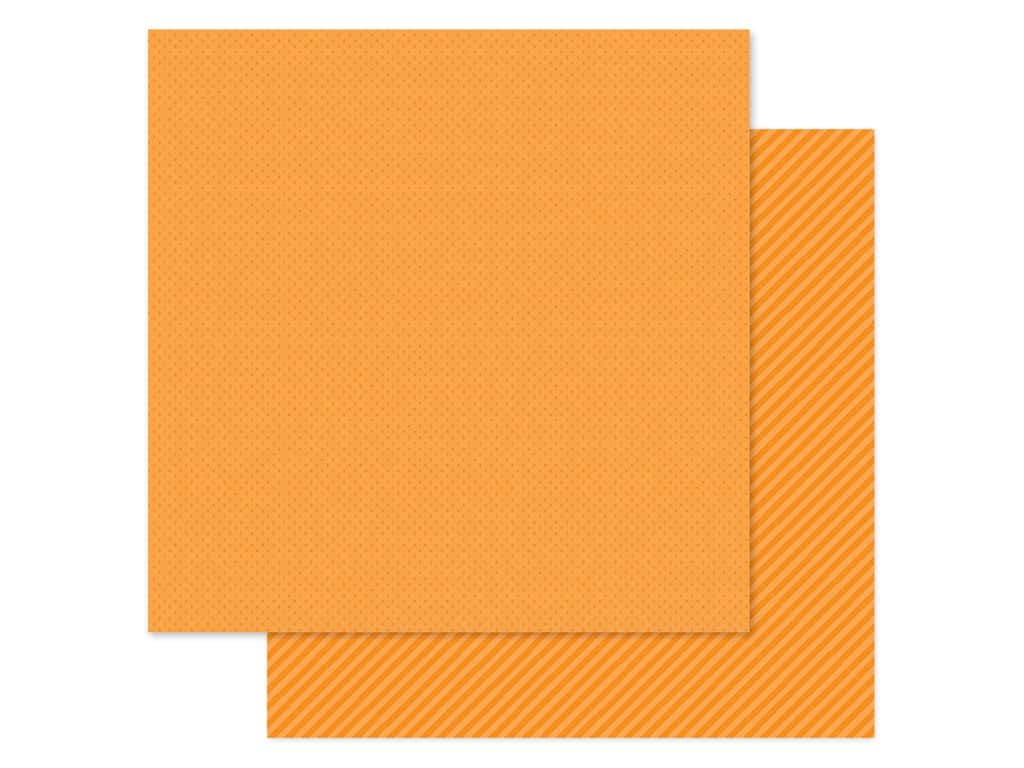 Doodlebug Collection Petite Prints Paper 12 in. x 12 in. Dot/Stripe Mandarin (25 pieces)