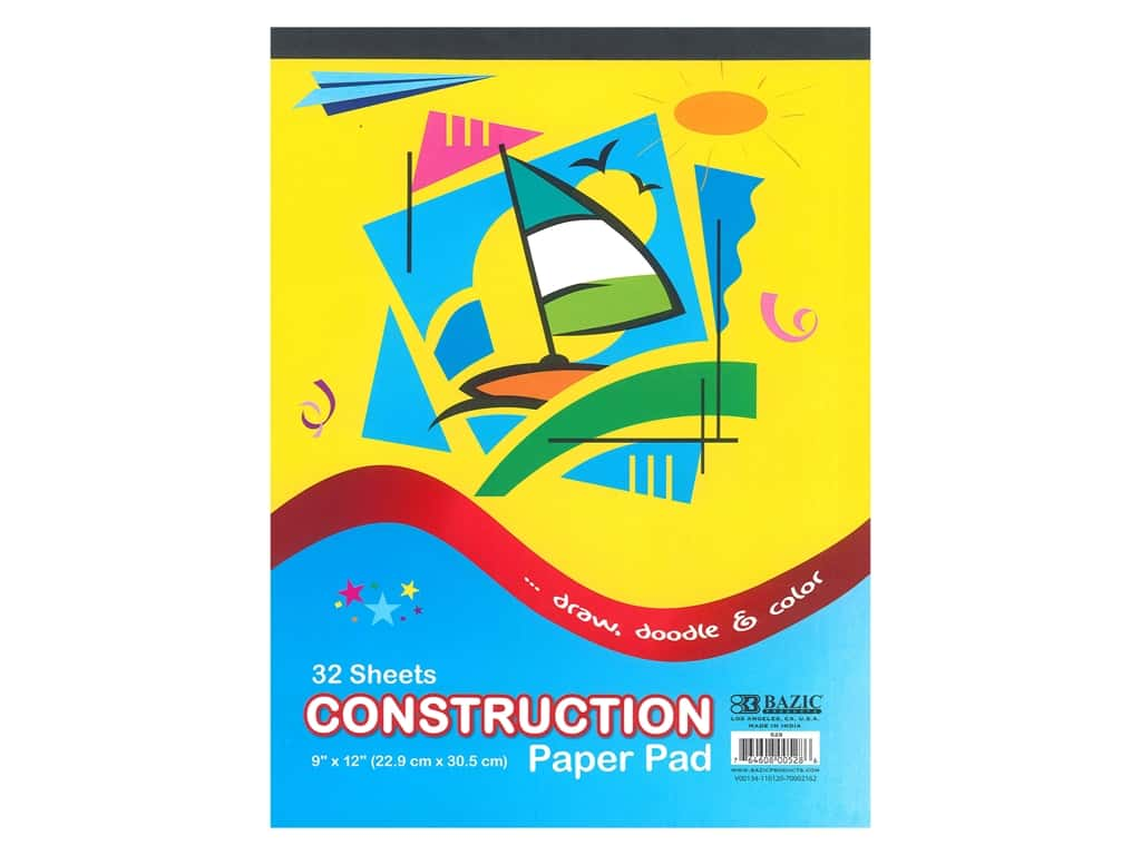 Bazic Basics Construction Paper Pad 9 in. x 12 in. 32 ct