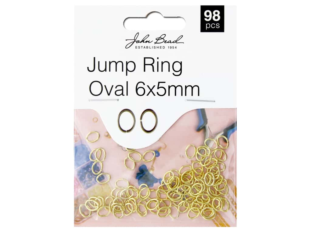 John Bead Findings Must Have Findings Jump Ring Oval 6 mm x 5 mm Gold 98 pc