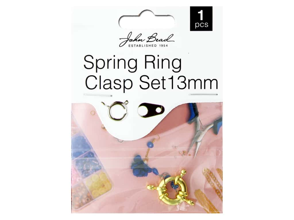 John Bead Findings Must Have Findings Spring Ring Set 13 mm Gold