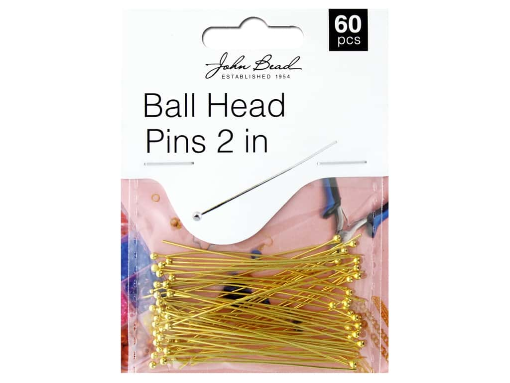 John Bead Findings Must Have Findings Ball Head Pins 2 in. 22 ga Gold 60 pc