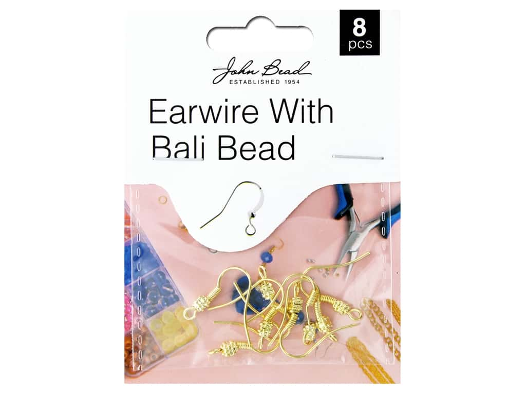 John Bead Findings Must Have Findings Earwire With Bail Bead Gold 8 pc