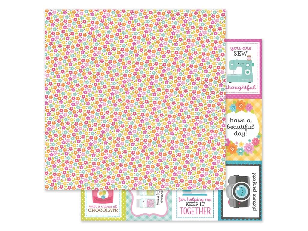Doodlebug Collection Cute & Crafty Paper 12 in. x 12 in. Precious Posies (25 pieces)