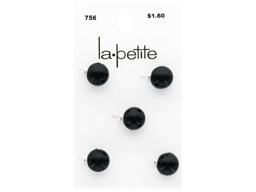 LaPetite Buttons 3/8 in. Ball Prong Black 5 pc