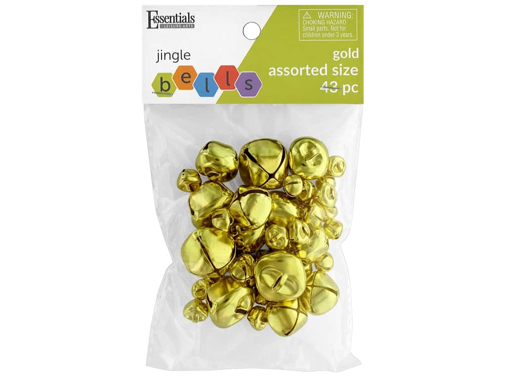 Essentials By Leisure Arts Bell Jingle Assorted Sizes Gold 43 pc
