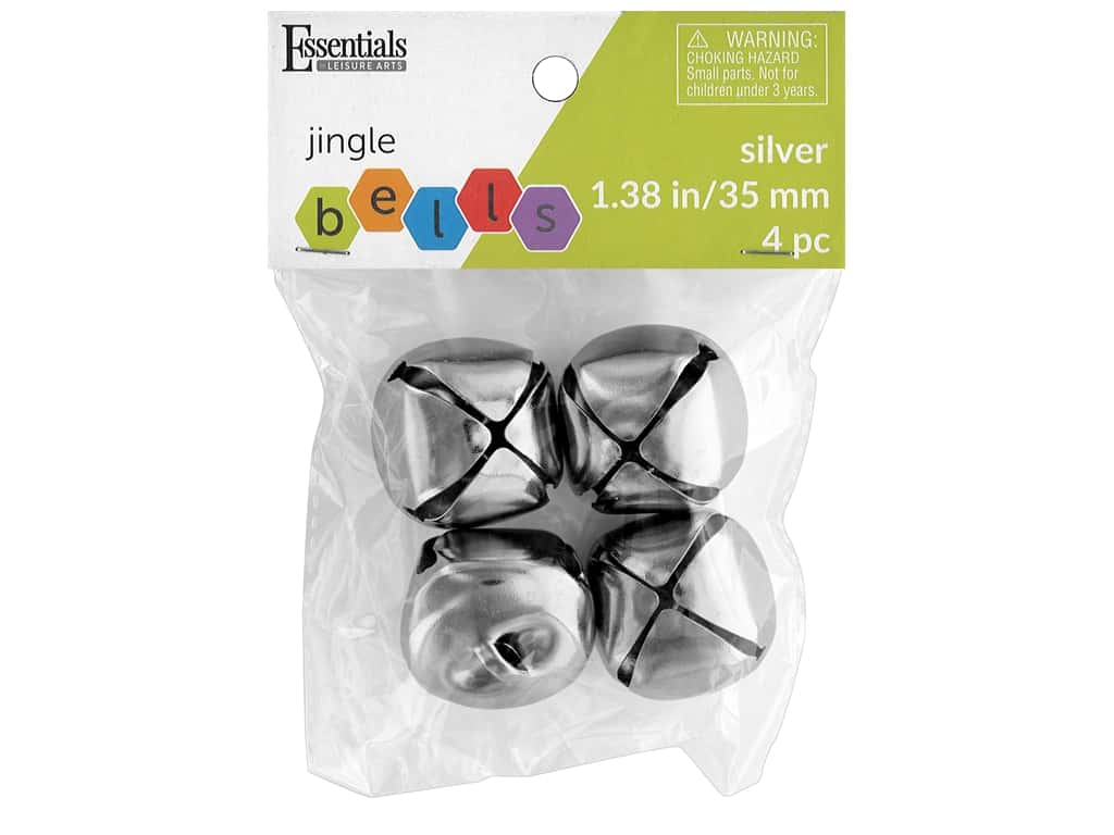 Essentials By Leisure Arts Bell Jingle 35 mm Silver 4 pc