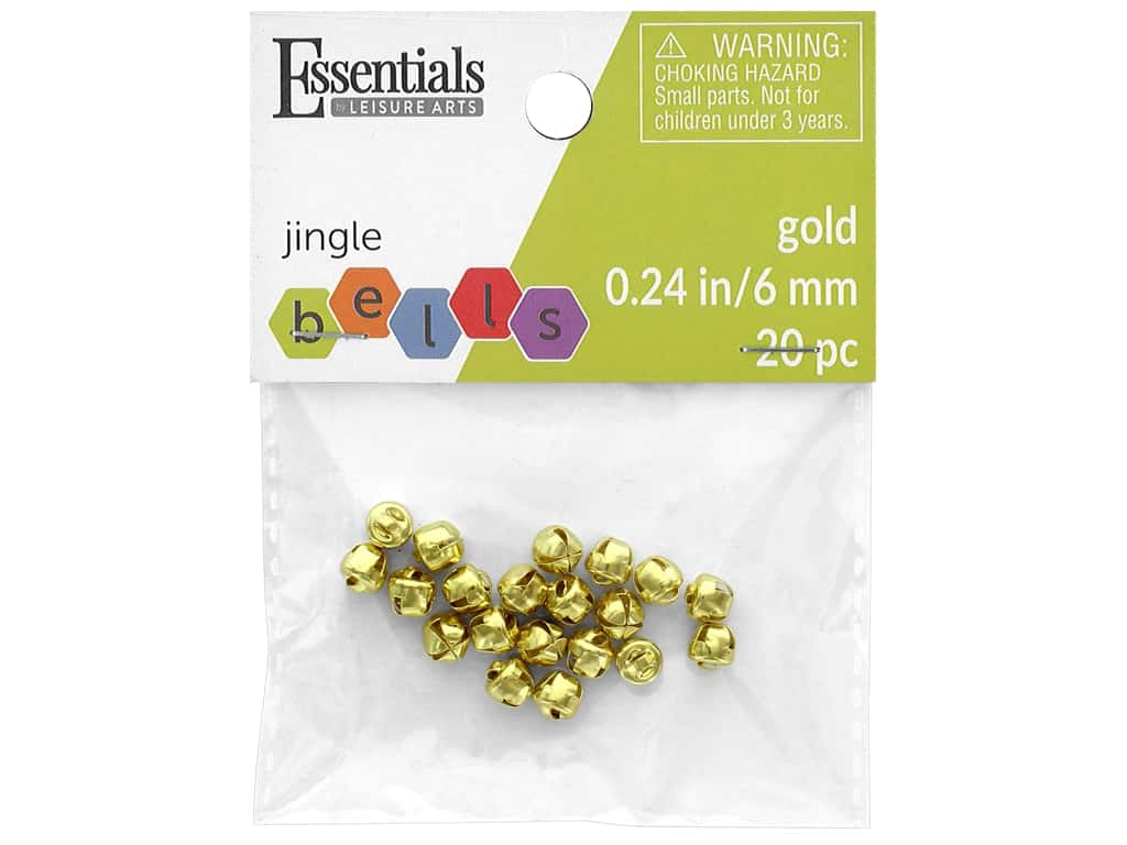 Essentials By Leisure Arts Bell Jingle 6 mm Gold 20 pc