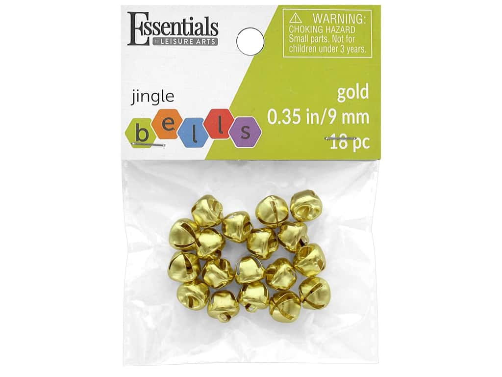 Essentials By Leisure Arts Bell Jingle 9 mm Gold 18 pc