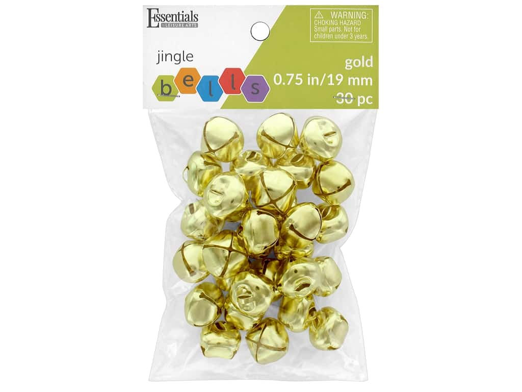 Essentials By Leisure Arts Bell Jingle 19 mm Gold 30 pc