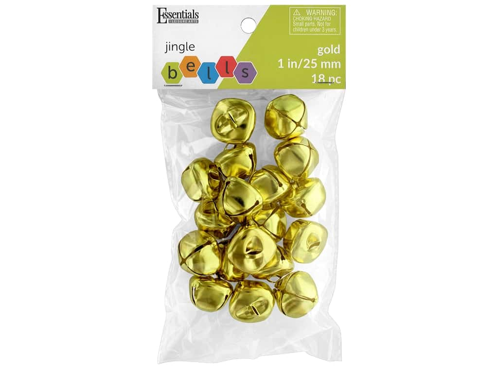 Essentials By Leisure Arts Bell Jingle 25 mm Gold 18 pc